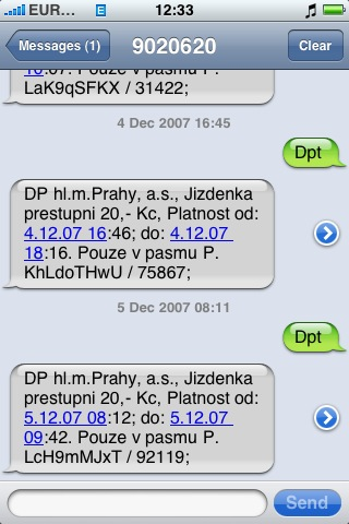 SMS jízdenky na iPhone